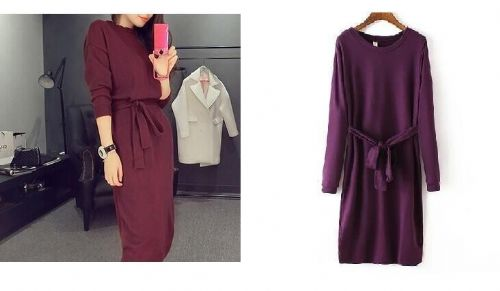 New Ladies Long Sleeve Knitted Long Dress With Belt